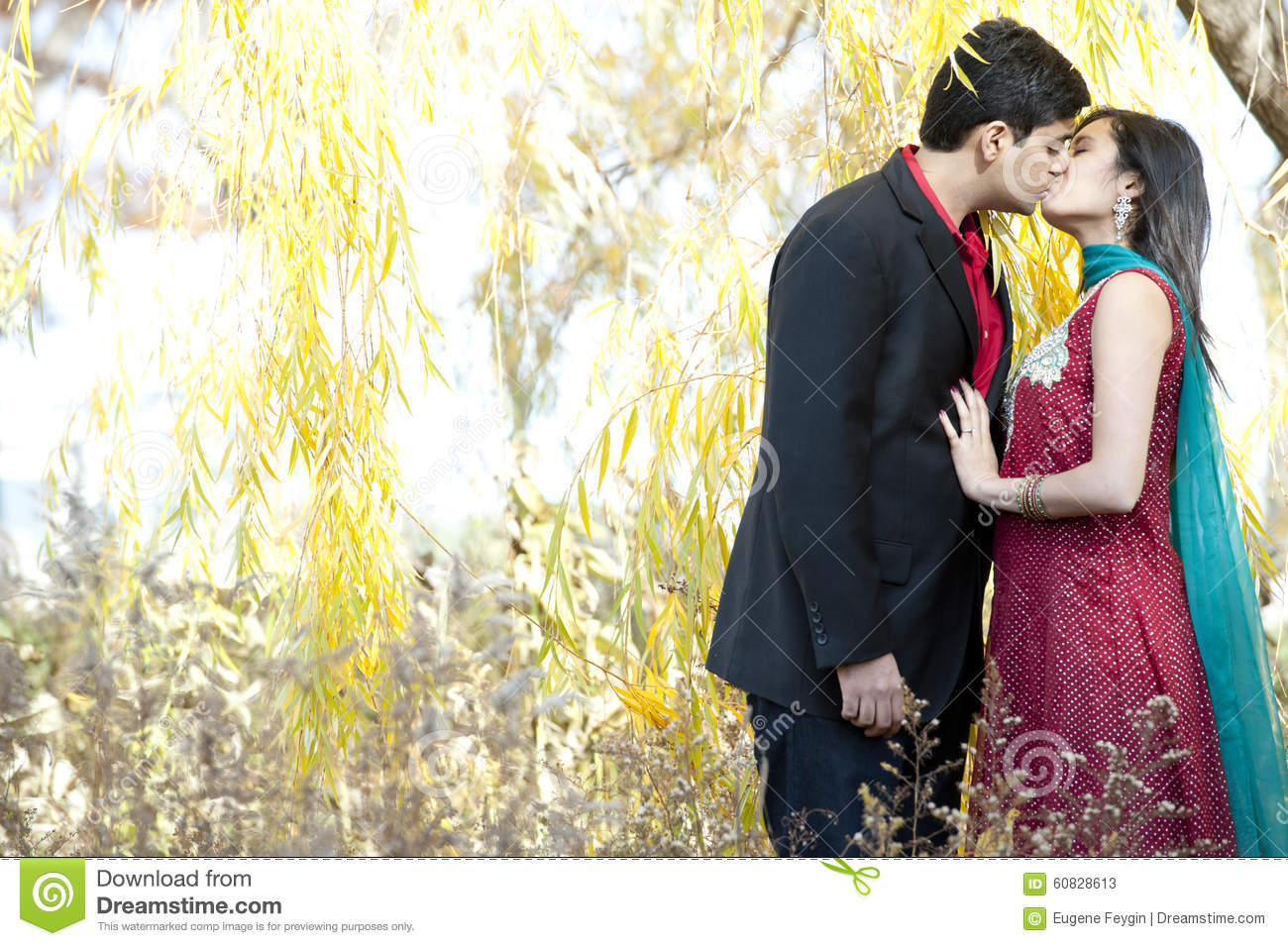 Indian couple kissing